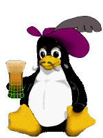 Mustached Linux Penguin in a Musketeer hat